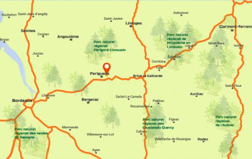 Carte de la région : Zone géographique Dordogne et Nouvelle Aquitaine de l'entreprise Yoan Meauxsoone